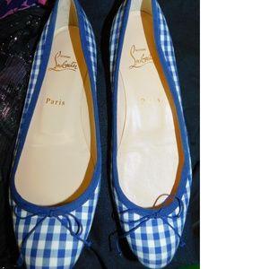 Christian Louboutin Bow Flats 8.5 Blue/White